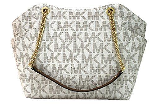 aaff7e9d522b0 MICHAEL Michael Kors Women s Jet Set Travel Large Chain Shoulder Tote  Printed Handbag (Vanilla