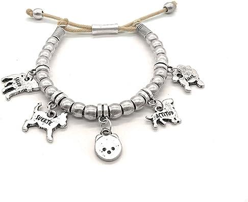 Pulsera con mensajes positivos, piezas plata, amantes de los animales - Hecha a mano en España por Perrinho - Modelo Dog Energy: Amazon.es: Joyería