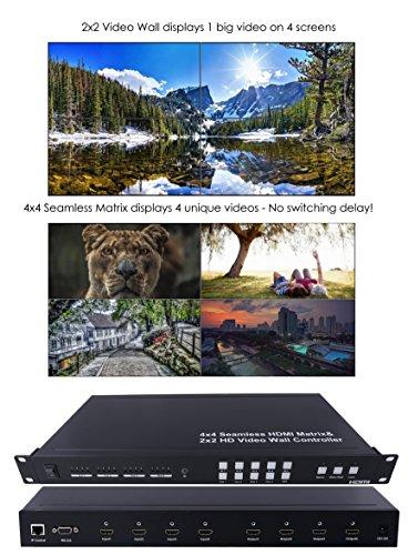 2x2 Video Wall & 4x4 Seamless HDMI Matrix Switcher Processor 1080P HD Splicer Splitter Four Displays
