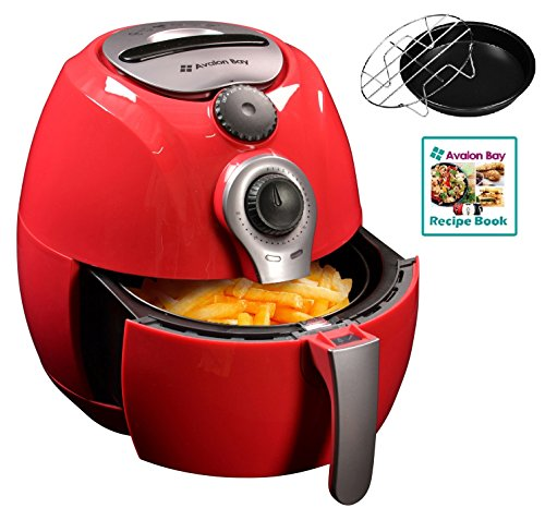 Red Mini Dish (Avalon Bay Air Fryer, For Healthy Oil-Less Fried Food, 3.7 Quart Capacity, Includes Free Airfryer Baking Set and Recipe Book, Red, AB-Airfryer100R)