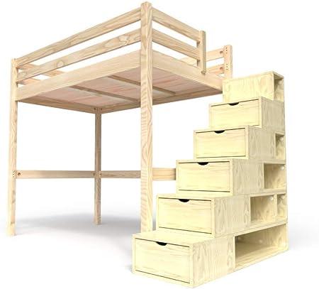 ABC MEUBLES - Cama Alta Sylvia con Escalera Cubo - Cube - Barniz Natural, 120x200: Amazon.es: Hogar