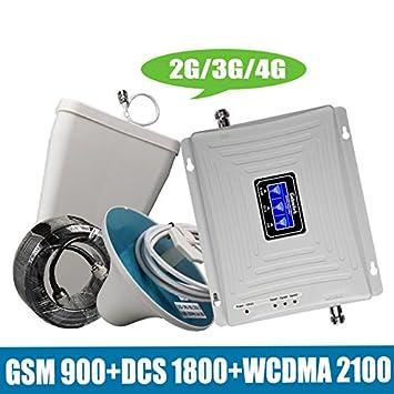 No Tri-Band 2G/3G/4G Amplificador de señal móvil GSM 900 + DCS/LTE 1800 + WCDMA UMTS 2100 MHz Antena de amplificador de repetidor móvil: Amazon.es: ...