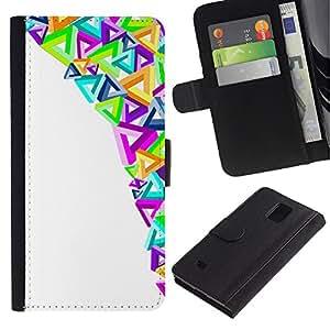 Paccase / Billetera de Cuero Caso del tirón Titular de la tarjeta Carcasa Funda para - Modern Art Triangles Colorful Purple - Samsung Galaxy Note 4 SM-N910