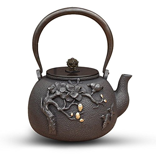 TOWA Workshop Tetsubin Cast Iron Tea Pot High-end Magnolia 1.3L No Enamel Interior (Tetsubin Teapot Cast Iron)