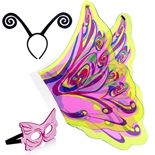 Zaleny Fairy Rainbow Fancy Butterfly Set (Wings + Headband +Mask) Pink for (Rainbow Butterfly Party Mask)