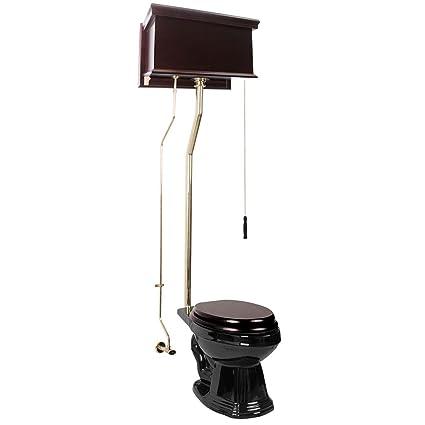 Black Elongated Toilet Seat.Renovator S Supply Dark Oak High Tank Pull Chain Toilet With