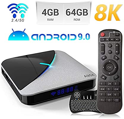 Android 9.0 TV Box,A95X F3 Air Smart TV Box con Amlogic S905X3 Quad-Core Cortex-A55 CPU,4GB RAM/64GB ROM Admite 8K 3D 2.4GHz/5.0GHz WiFi Bluetooth 4.0 con Mini Wireless Backlight Keyboard: Amazon.es: Electrónica