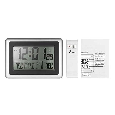 Topker Reloj digital de escritorio con pantalla LCD (control de radio, indicador de temperatura