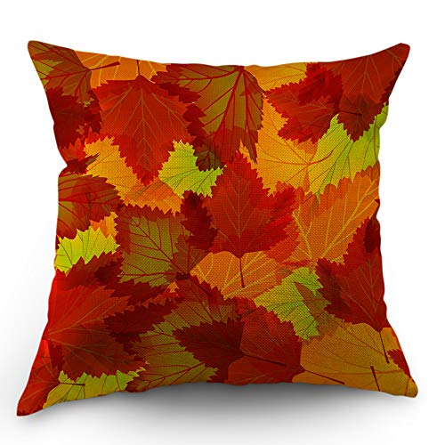 Autumn Leaves Pillow - Moslion Maple Leaf Pillows Fall Throw Pillow Cover Autumn Leaves Maple Tree Pillow Case 18x18 Inch Cotton Linen Canvas Square Cushion Decorative Cover Happy Father's Day for Sofa Bedroom Orange