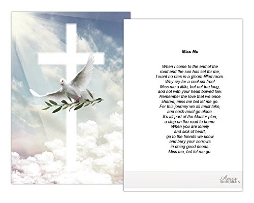 Funeral Memorial Prayer Cards (50 Cards) FPC1165EN Dove with Olive (Select Desired Prayer) ()