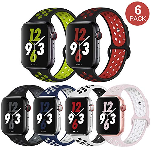 OriBear Compatible for App le Watch Band 44mm 42mm, Breathable Sporty for iWatch Bands Series 4/3/2/1, Watch Nike+, Various Styles and Colors for Woman and Man(M/L,6 Pack)