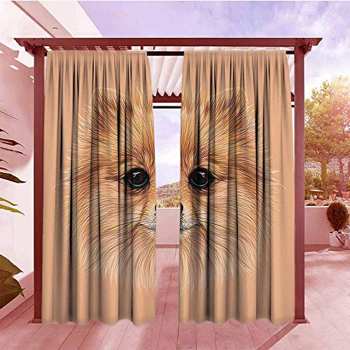 Curtain Tailored Animal Pomerian Dog with Vintage Retro Red Quote and Peach Colored Backdrop Poster Artwork Draft Blocking Draperies W84x108L Multicolor