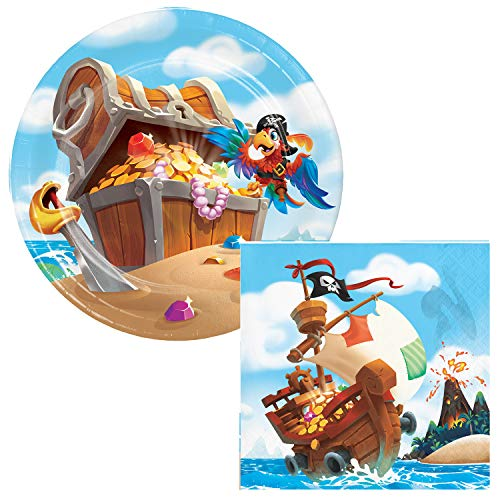 Pirate Treasure Dessert Plates & Napkins Party Kit for 8 -