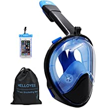 2017 HELLOYEE Snorkel Mask GoPro Compatible Panoramic View Mask For Adults And Kids, Snorkeling Mask Full Face Anti-Fog Anti-Leak Design With Waterproof Phone Pouch