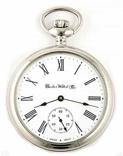 a07410182 Dueber Swiss Mechanical Pocket Watch, High Polish Chrome Open Face Case,  Assembled in USA