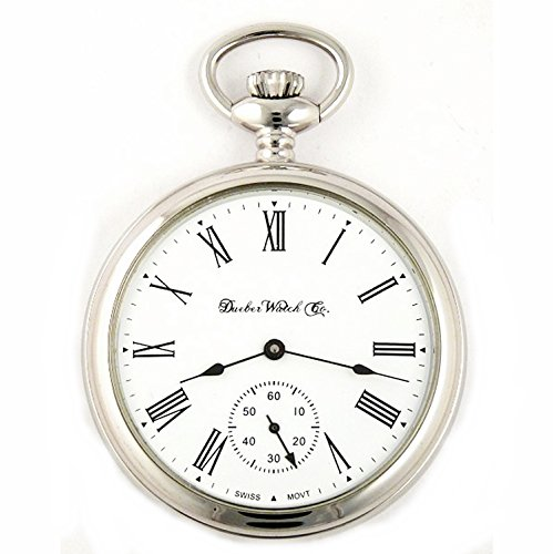 Dueber Swiss Mechanical Pocket Watch, High Polish Chrome Open Face Case, Assembled in USA!