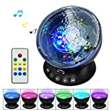 【Newest Design】Testudo Remote Control Ocean Wave Projector 12 LED &7 Colors Night Light with Built-in Mini Music Player,Star Projector for Baby Kids Adults Living Room and Bedroom (Black)