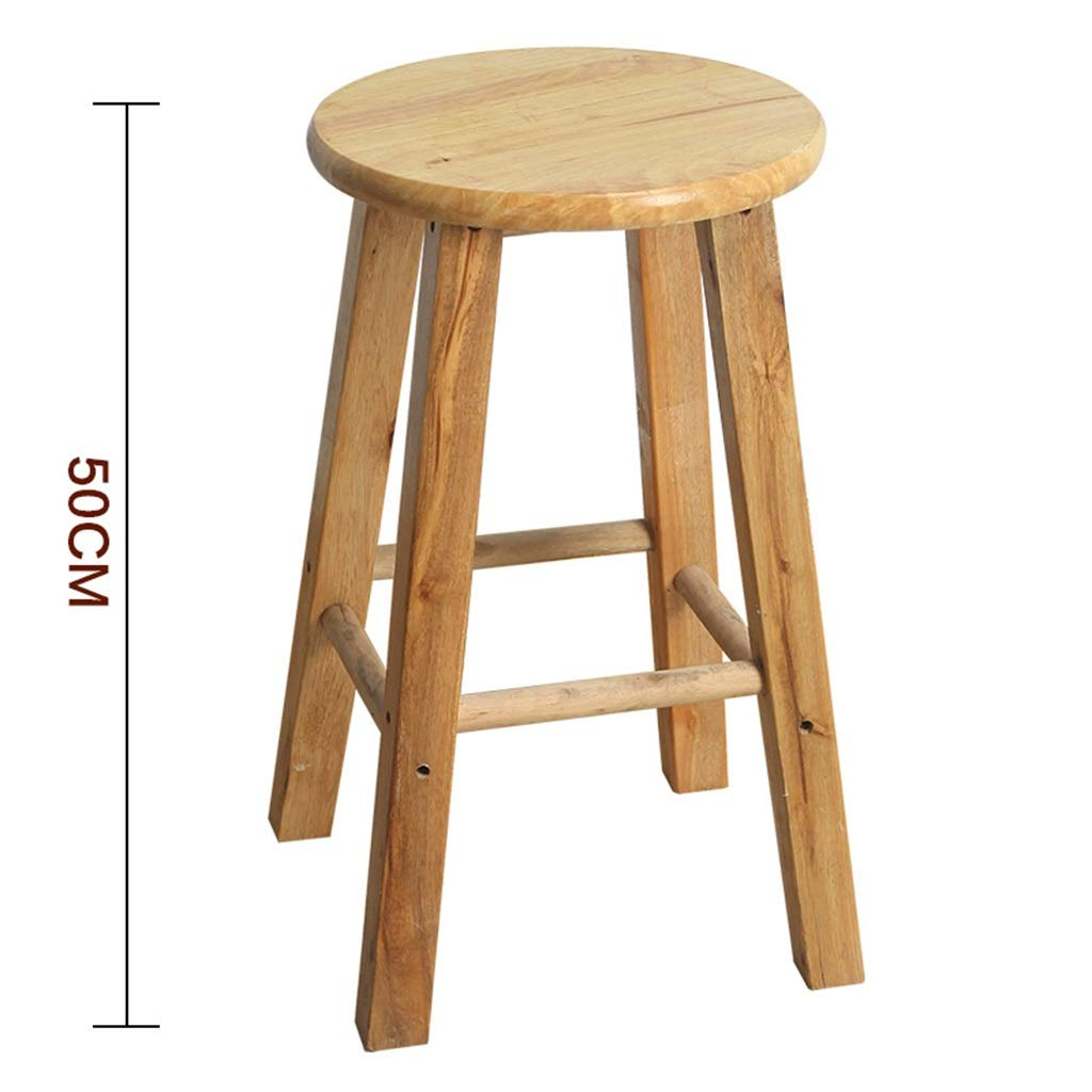 50CM Stool Wooden Bar Stools, Round High Stools, for Counter Café Kitchen Breakfast Pub (Size   50CM)