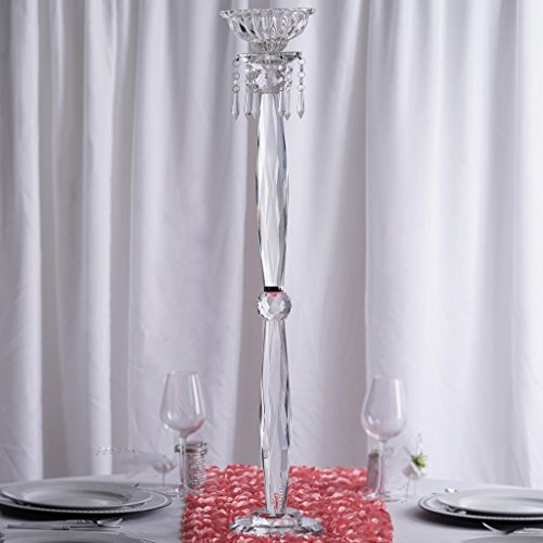 BalsaCircle 35'' tall Clear Crystal Candle and Taper Holder Pedestal - Wedding Party Home Decorations Gift by BalsaCircle