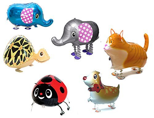 Ovee Lando Set of 6 walking animal Helium balloon pet air walkers, mixes pet party (Balloons Helium Animal)