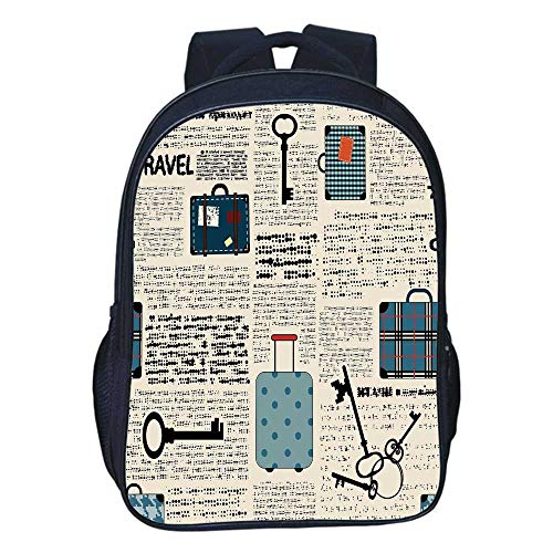 Old Newspaper Decor Durable Double black backpack,Retro Style Travel Vacation Theme Vintage Suitcases Keys Dot Text For classroom,11.8