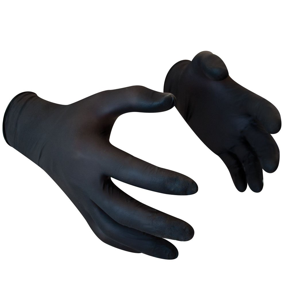 Black Nitrile Disposable Gloves Powder Free Textured Fingertips 4 Mil Thickness Latex Free Medical Examination Glove (Extra Large)