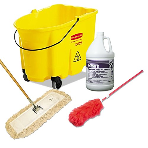 Boardwalk Cut-End Dust Mop Kit + Unisan Lambswool Extendable Duster, Handle Extends 35 inches to 48 inches + WaveBrake Bucket, 8.75 gal, Yellow + Misty Neutral Floor Cleaner EP, Lemon, (Misty Neutral Floor Cleaner)