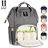 MUIFA Diaper Bag Multi-Function Waterproof Travel Backpack Nappy Bag for Baby Care with Insulated Pockets, Large Capacity, Durable (Grey)