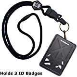 Top Loading THREE ID Card Badge Holder with Heavy Duty Lanyard w/ Detachable Metal Clip and Key Ring by Specialist ID, Sold Individually (One Holder / 3 Cards Inside) (Black)
