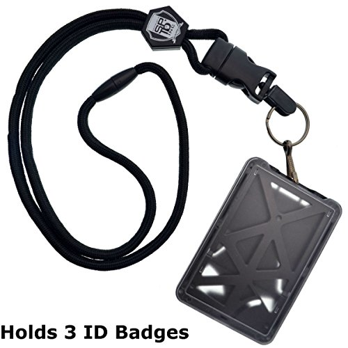 Top Loading THREE ID Card Badge Holder with Heavy Duty Lanyard w/ Detachable Metal Clip and Key Ring by Specialist ID, Sold Individually (One Holder / 3 Cards Inside) (Black) Photo #1