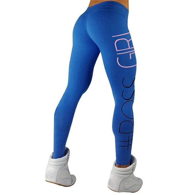 Gusspower Pantalones Yoga Mujeres, Pantalones de yoga de cintura Impresión alfabeto para mujeres Running Fitness Leggings Pants Ropa de ejercicio