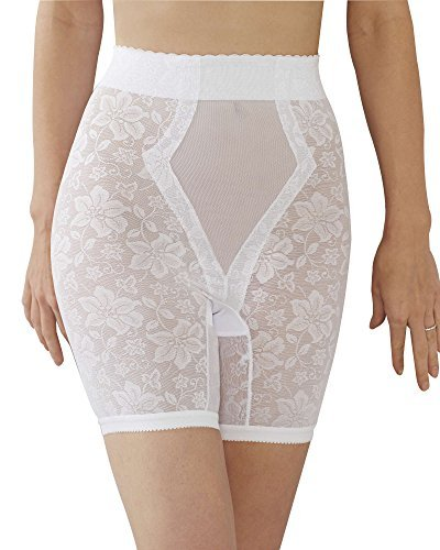 QT Intimates Lace Jaquard Long Leg Control Shaper w/ Powermesh #298 (XXXX-Large, White)