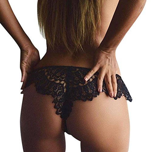 Sunsee Women Seamless Lace Panties Briefs Underwear Lingerie Knickers Thongs G-String (S, Black)