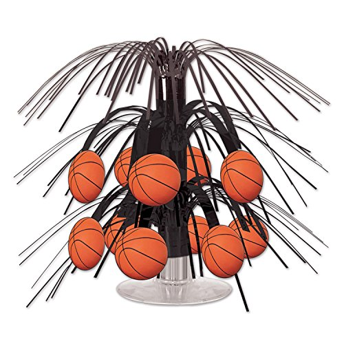 Decoration Cascade (Beistle Basketball Mini Cascade Centerpiece, 7 1/2-Inch, Black/Brown (2-Pack))