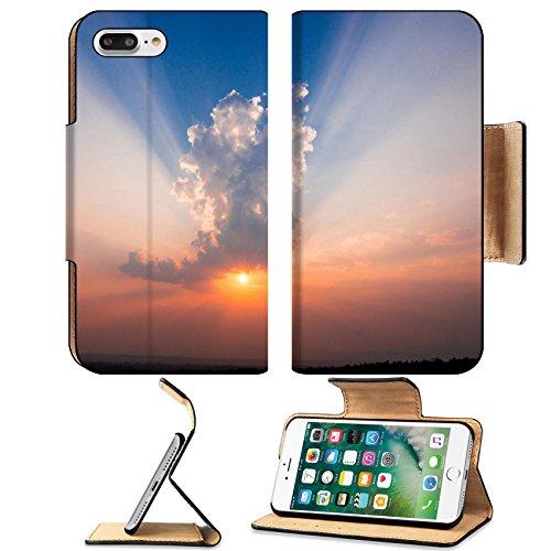Luxlady Premium Apple iPhone 7 Plus Flip Pu Leather Wallet Case iPhone7 Plus 27288090 Beautiful Sunset with (Cute Halloween Hair Ideas)