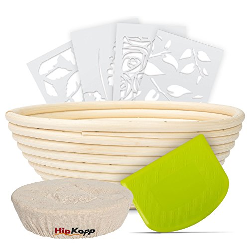 HipKopp 8.5 inch Banneton Bread Proofing Basket Set - eco-friendly Material Rattan Shape Loaf Bowl -Sourdough Kitchen Silicone Scraper Cloth Liner kit - 4 Customised Stencils for Professional Baking by HipKopp (Image #1)