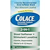 Colace 2-IN-1 Stool Softener & Stimulant Laxative Tablets 30 Count Gentle Constipation Relief in 6-12 Hours