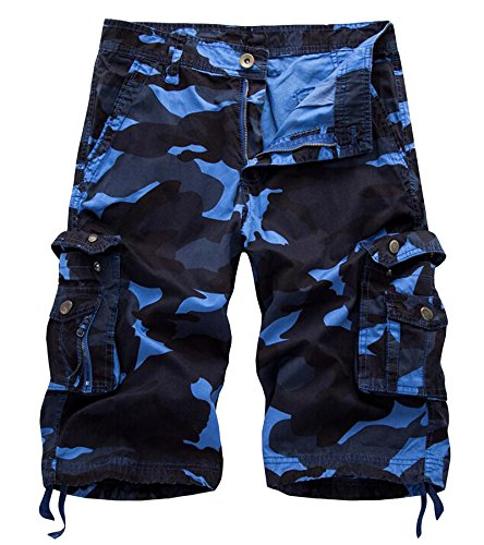 AOYOG Mens Camo Cargo Shorts Cotton, Dark Blue Camouflage 083, Lable size 36(US 34) ()
