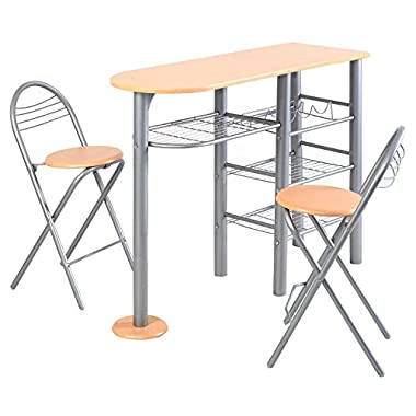 Giantex Pub Dining Set Counter Height 3 Piece Table and Chairs Set Breakfast Kitchen