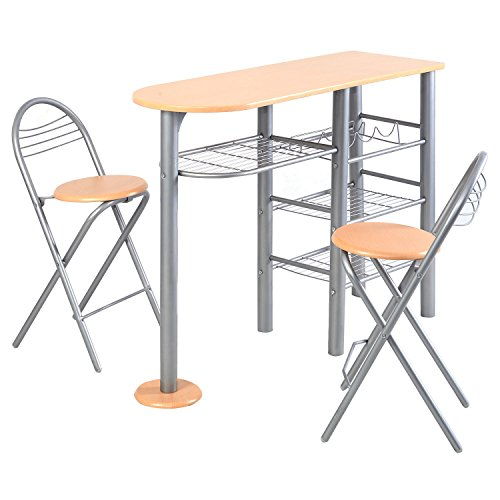 Giantex Pub Dining Set Counter Height 3 Piece Table and Chairs Set Breakfast Kitchen (Counter Breakfast Height)