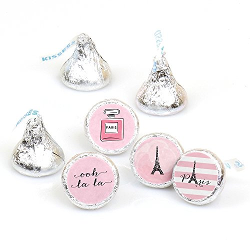 Paris, Ooh La La - Paris Themed Baby Shower or Birthday Party Round Candy Sticker Favors – Labels Fit Hershey's Kisses (1 sheet of 108)