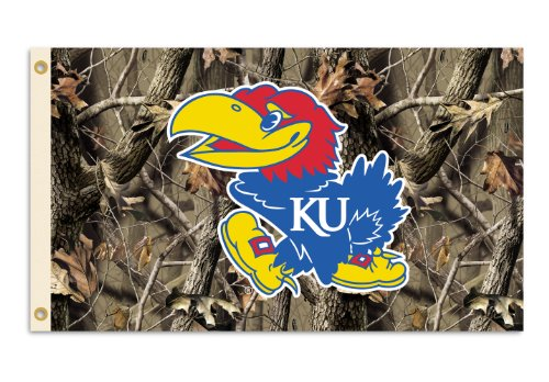 NCAA Kansas Jayhawks 3-by-5 Foot Flag with Grommets - Realtree Camo Background