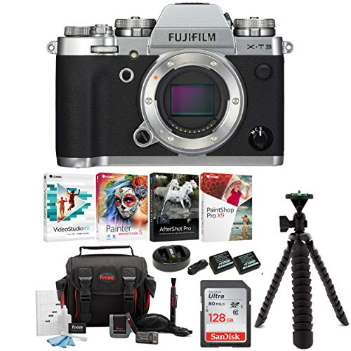 Fujifilm X-T3 Mirrorless Digital Camera Body (Silver) Accessory Bundle + Sandisk 128GB Ultra UHS-I + 2 NP-W126 & Dual Charger + Tripod + Deluxe Photo Software