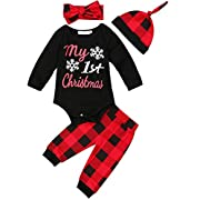 Zefeng Baby Boys Girls Christmas romper and Plaid Pants Leggings Headband Hat 4pcs Christmas Outfits Set(0-6Months)