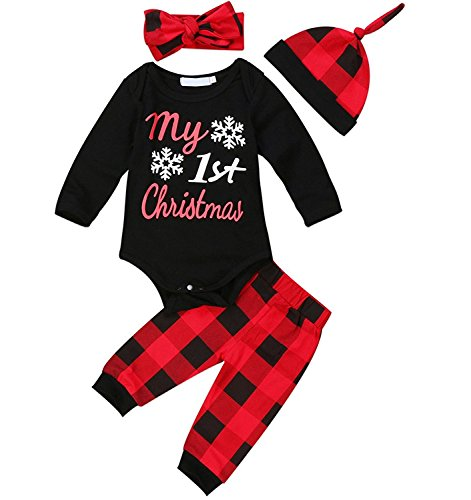 Zefeng Baby Boys Girls Christmas Romper and Plaid Pants Leggings Headband Hat 4pcs Christmas Outfits Set(0-6Months) (0-3 Month Christmas Outfits)