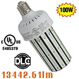 100 watt corn cob led - NGTlight 100W LED Corn Bulb Light Replace 400Watt Metal Halide Mogul Base E39 6000K Daylight Parking Lot Street Lighting