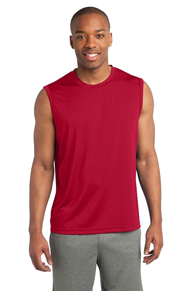686220bc Amazon.com: Blackout Tees Sport Tek ST352 Sleeveless Moisture dri fit Wick  Muscle T-shirt Mens Size S-4XL New: Clothing