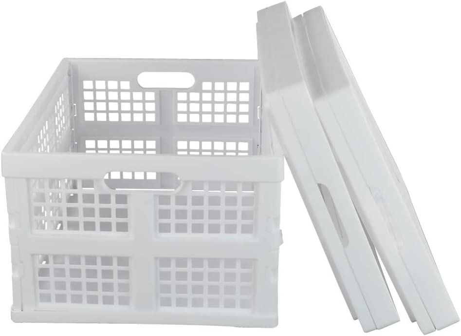 Begale 3-Pack White Plastic Collapsible Storage Basket 28 L Folding Crates//Bins