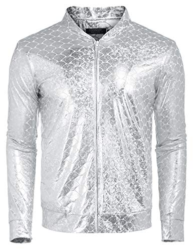 COOFANDY Mens Sequin Jacket Zip Up Baseball Varsity Bomber Sparkle Metallic Party Nightclub Disco Jacket