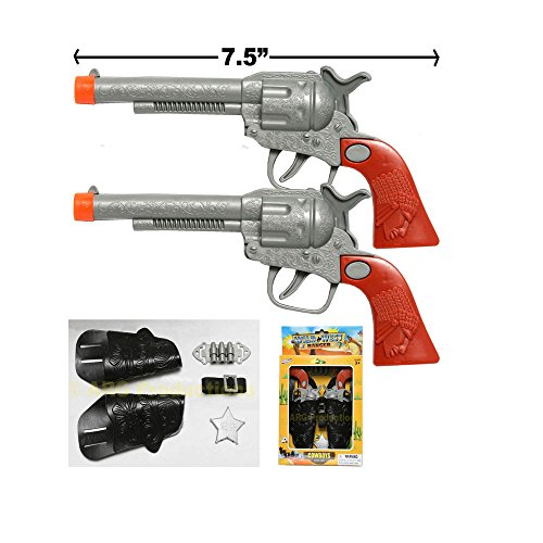 2 (TWO) COWBOY GUN TOY PISTOL REVOLVER WILD WEST PLAY SET BADGE BELT HOLSTER SILVER from Unbranded